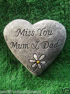 memorial stone plaque heart gravemarker miss you mum and dad ebay. Black Bedroom Furniture Sets. Home Design Ideas