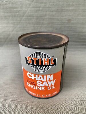 Vintage Advertising Stihl 8 oz. Chain Saw 2 cycle Engine Oil tin Can Unopened