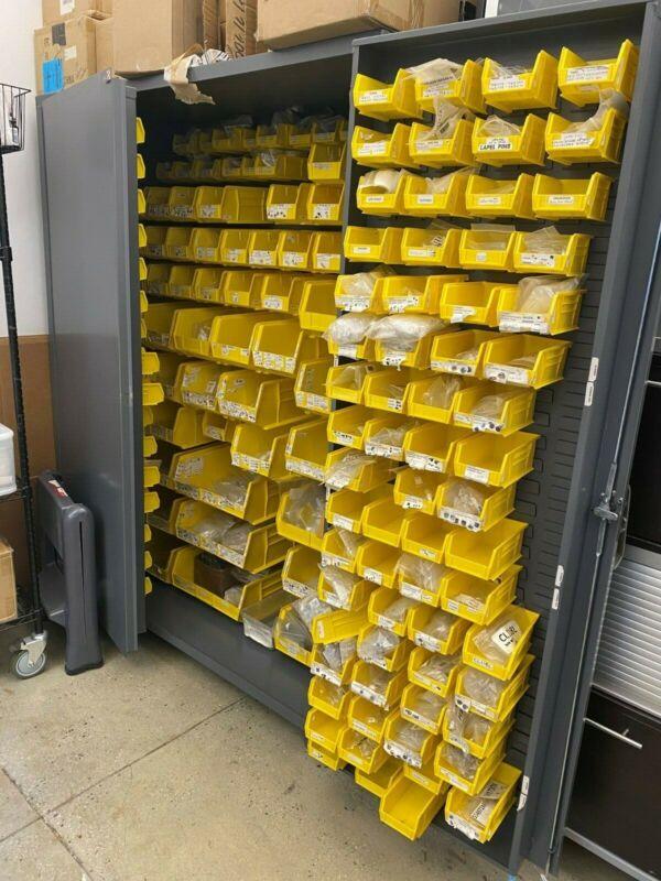 "ULINE Adjustable Steel Storage Bin Cabinet 48 X 24 X 78"" with yellow Bins"