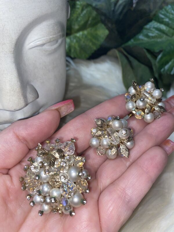 Miriam Haskell Style Vendome Pearl and Crystal Brooch & Earring Set! Mint! B4