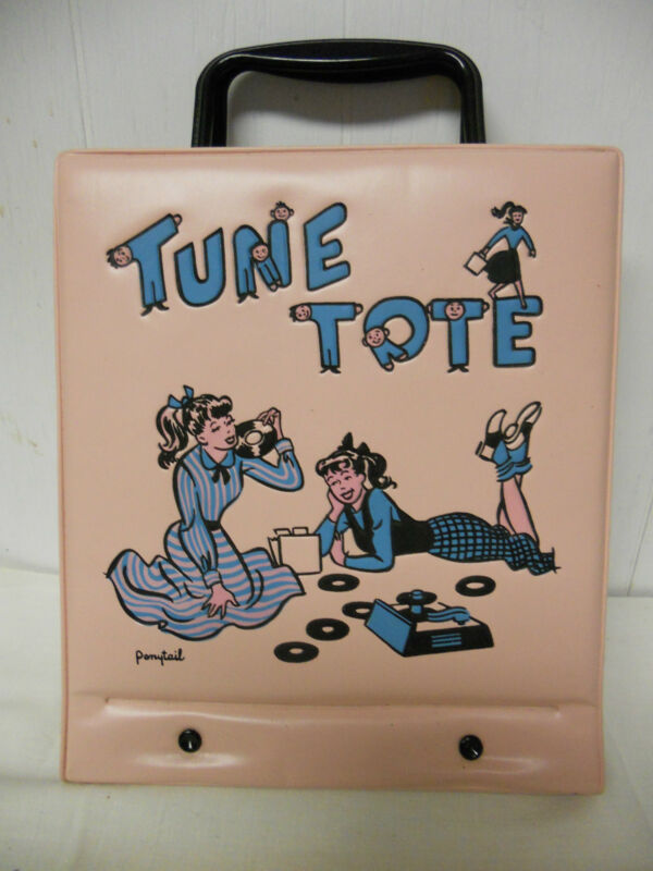 1950s Pink Ponytail Tune Tote Record Carry Case w/ 78 & 45 RPM, 14 Records Set