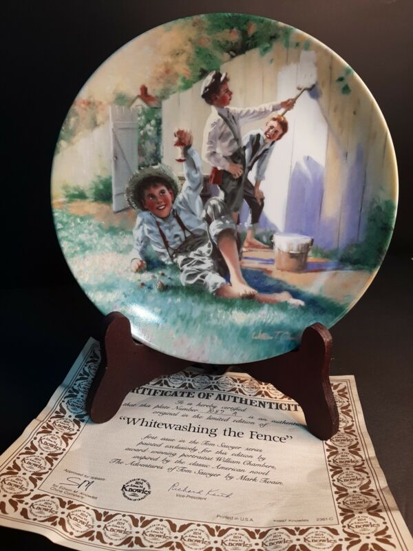 1987 Collectors Plate Whitewashing The Fence Knowles Limited Edition