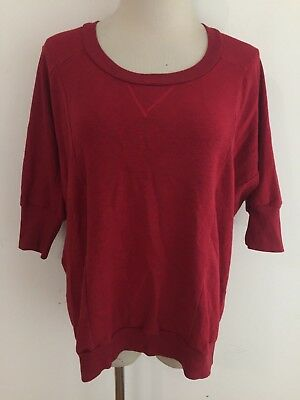 Splendid Scoop Neck Tunic Top - Splendid Scoop Neck Jersey Knit Kimono Sleeve Tunic Top Sweatshirt Red Size XS