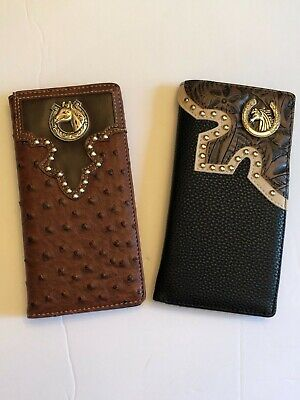 Men's Western Leather Checkbook Wallet (Different Styles See (Different Men's Styles)