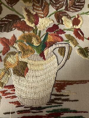vintage needlework picture flowers decorative wall art old needle craft