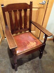 Antique Tiger Oak and Leather Armchair