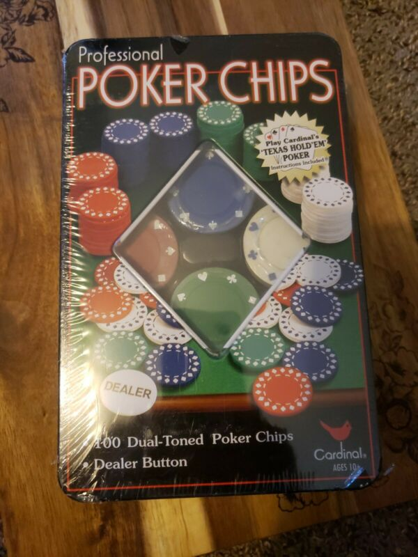 100 Professional POKER CHIPS & Dealer Button by Cardinal New in wrapper