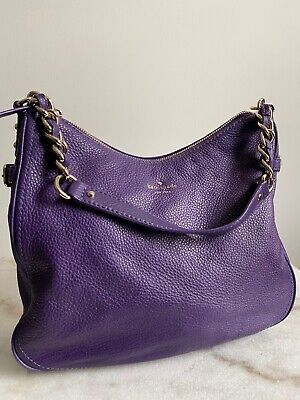KATE SPADE PURPLE GOLD CHAIN LEATHER SHOULDER BAG NEVER WORN!