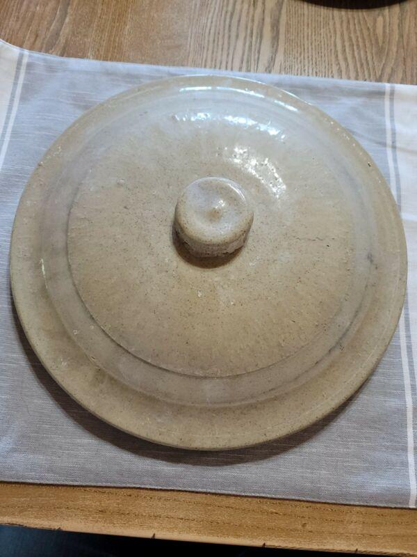 """Large Stoneware Glaze Crock Lid 12"""" Wide Pottery Primitive Antique"""