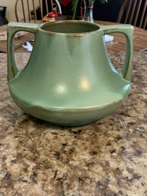 Vintage Catalina Island Pottery Red Clay Double Handled Green Vase Pot Design 29