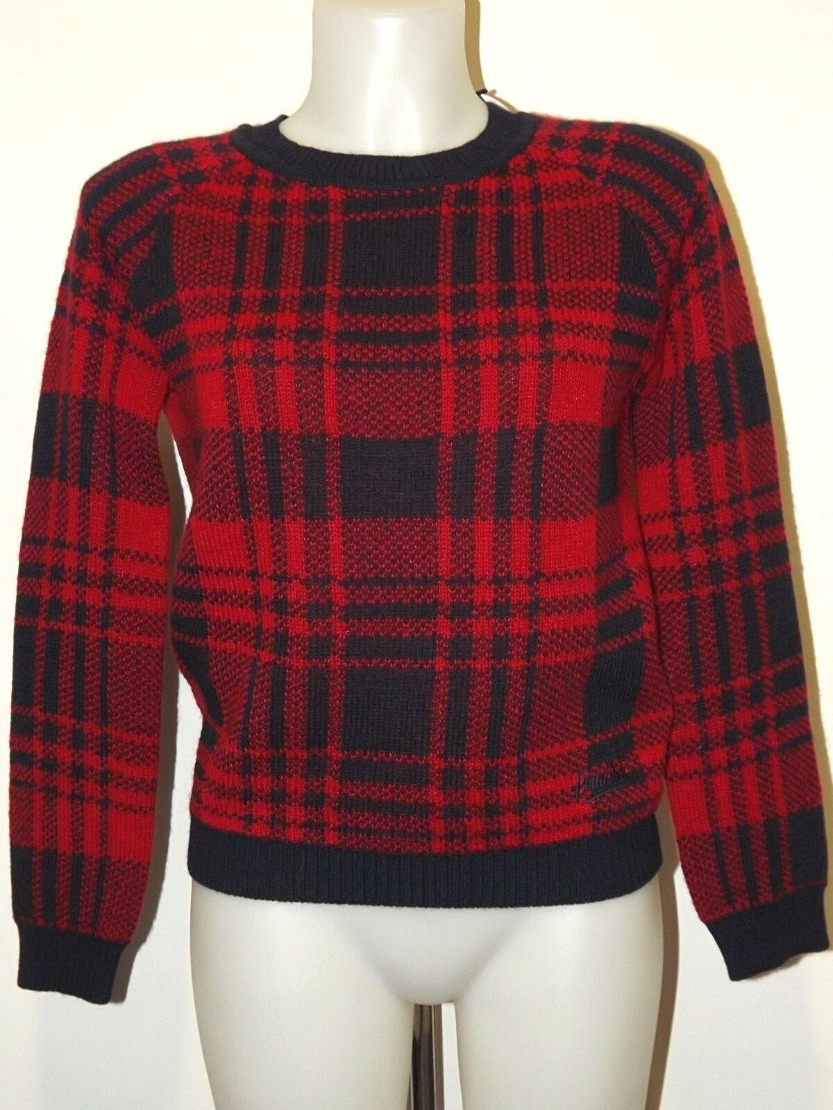 PENN-RICH BY WOOLRICH MAGLIONE DONNA CHECK S M L PULLOVER MISTO LANA