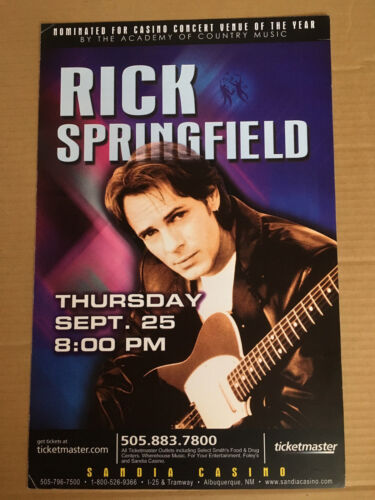 RICK SPRINGFIELD PROMO Concert Gig TOUR Poster 2003 New Mexico NEVER DISPLAYED