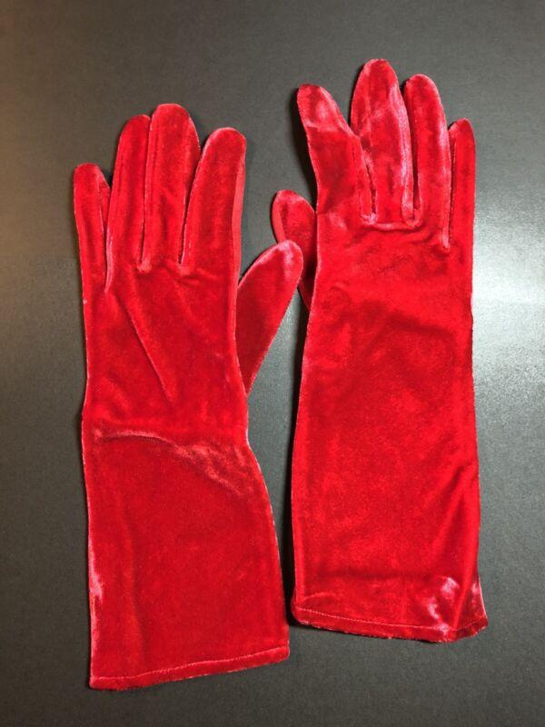 Vintage Wear-Right Red Velvet Gloves Women's Size 6.5 Formal Opera, Wedding