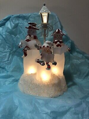 Vintage Snowman Family Carolers Lighted Display Lamp Post