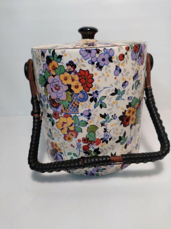 Antique Lancaster & Sons L&S Sons Hanley England Floral Chintz  Biscuit Jar