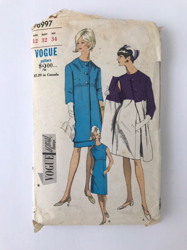 Vogue 6997 Size 12 Sewing Pattern Vtg 60s Dress Coat Set 1pc Cut Special Design