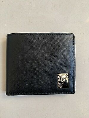 Versace Leather Wallet Black Leather men Genuine Leather Authenticity Code