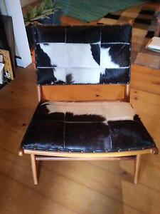 Leather low chair - goat hide, hand made solid timber - RRP $950 Bulimba Brisbane South East Preview