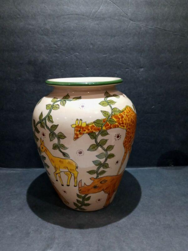 Hand-painted Safari Vase Made In Zimbabwe By J. Karina 2002