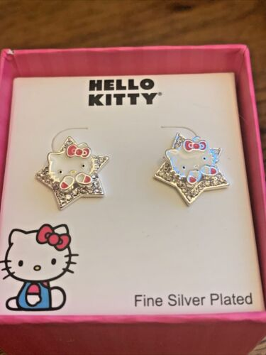 NEW...Authentic hello kitty Star crystal heart earrings Silver Plated And Enamel