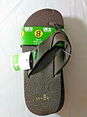 NEW! Sanuk Men's Beer Cozy Flip Flops Sandals Brown Beer Flip Flops Sandal