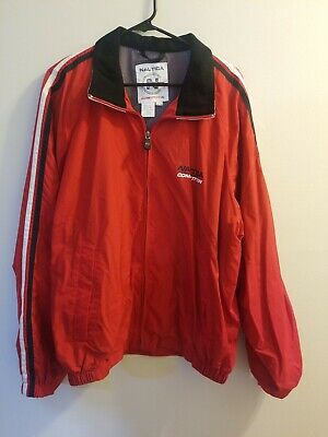 Vintage Nautica Competition Jacket Mens XL Red Windbreaker Sailing Jacket