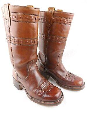 Vintage Acme Campus Boots Rich Brown Leather w/Weave Detail Mens 6.5