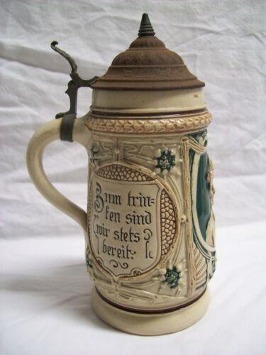Antique 1/2 Liter Ceramic Beer Stein Hinged Steel Lid Made in Germany Marked #2