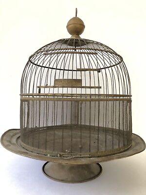 Antique Hendryx Brass Bird Cage Birdcage Rustic Farmhouse Decor Metal Dome VTG