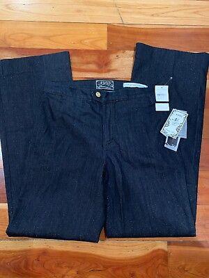 NYDJ Women Tummy Tuck Trouser Jeans In Premium Denim Dark Blue Gold Thread Sz 10