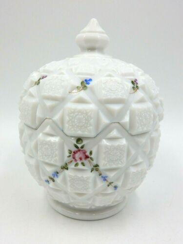 "WESTMORELAND MILK GLASS 6.5"" BLUE & PINK FLOWERS FLORAL LIDDED CANDY JAR"