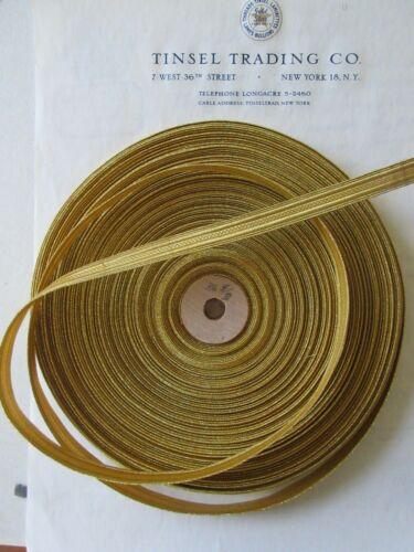 "UNUSED Vintage Antique French Gold Metallic Trim 7/16"" Military Lace"