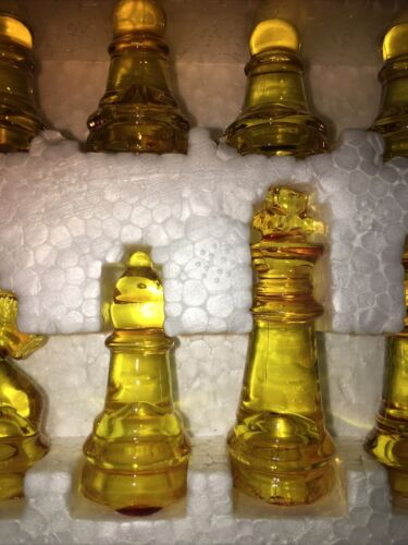 Buy Best Lemon Yellow Hand Painted Translucent Coloured Stained Glass Chess Pieces Small.