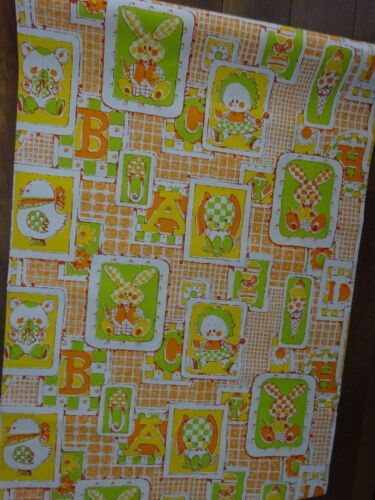 Vintage Wallpaper Roll Baby Nursery Retro Vinyl ABC Animal Yellow Orange Green
