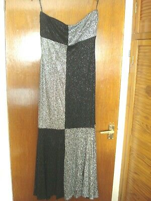 BLACK+SILVER SPARKLY STRAPLESS GOWN, SIZE 12, by Jessica McClintock