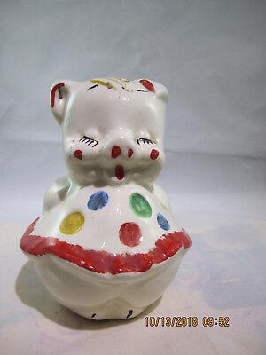 Vintage Piggy bank In Polka dot dress