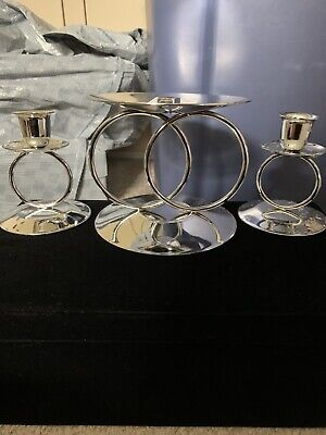 Silver Round Unity Candle Stand Set Wedding Unity Ceremony One Large Two Smaller