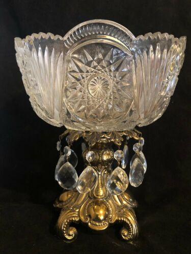 "Antique Crystal Glass Bowl Gold Pedestal Prisms Heavy 10"" tall Unique"
