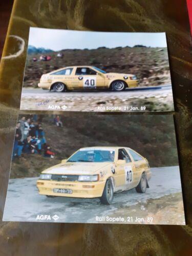 2x Toyota Corolla GT vintage original proof photos rally 1989 Portugal