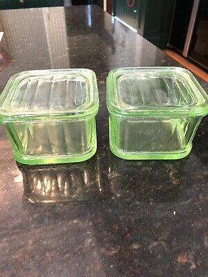 "Set Of 2 Hazel Atlas Green Uranium Ribbed 4x4"" Refrigerator Container And Kid"