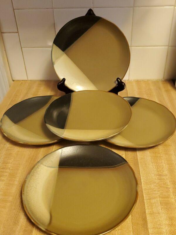 "5 Sango Stoneware  #5022 Gold Dust Black 8"" Salad Plates"