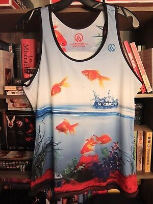 INKnBURN Women's Fish Tank - Gold Stripe Egg - Size XL Aquarium Run Singlet