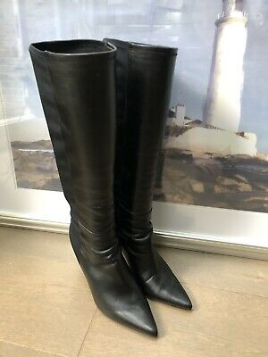 Jimmy Choo Knee High / Long Boots UK 4.5 / EU 37.5 Black Leather