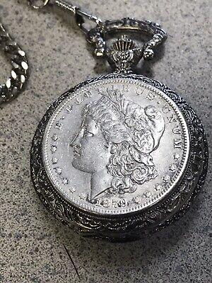 Vintage 1879 MORGAN SILVER DOLLAR Pocket Watch Case & Chain Quartz Watch Japan