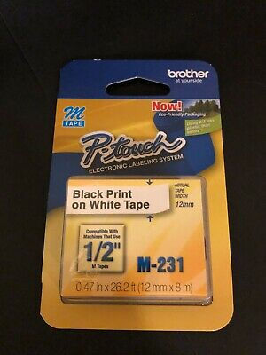 Brother M-231 P-touch 12 Adhesive Label Tape Black Print On White Tape New