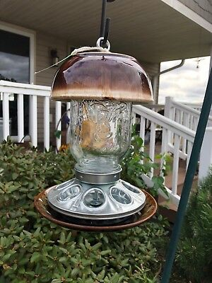 Hanging Mason Jar Bird Feeder Homemade with recycled glassware, stoneware #383