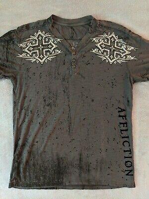 SMALL - Affliction Mens Henley Shirt Cross Rebel Saints USA