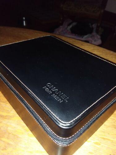 Chanel for men hard leather zip storage case/dopp kit/ travel carry case