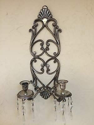 Vintage Ornate Silver Wall Candle Sconces  with 10 hanging Prisms