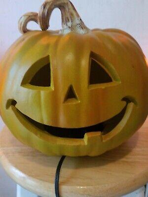 Very Nice Rare Orange & Green Halloween Pumpkin Blowmold w/Large Brown Stem.